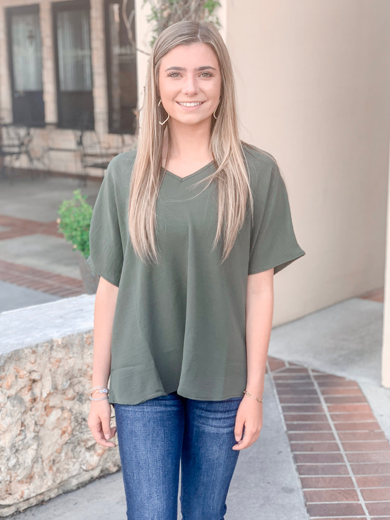 Lightweight V-Neck Top-Olive