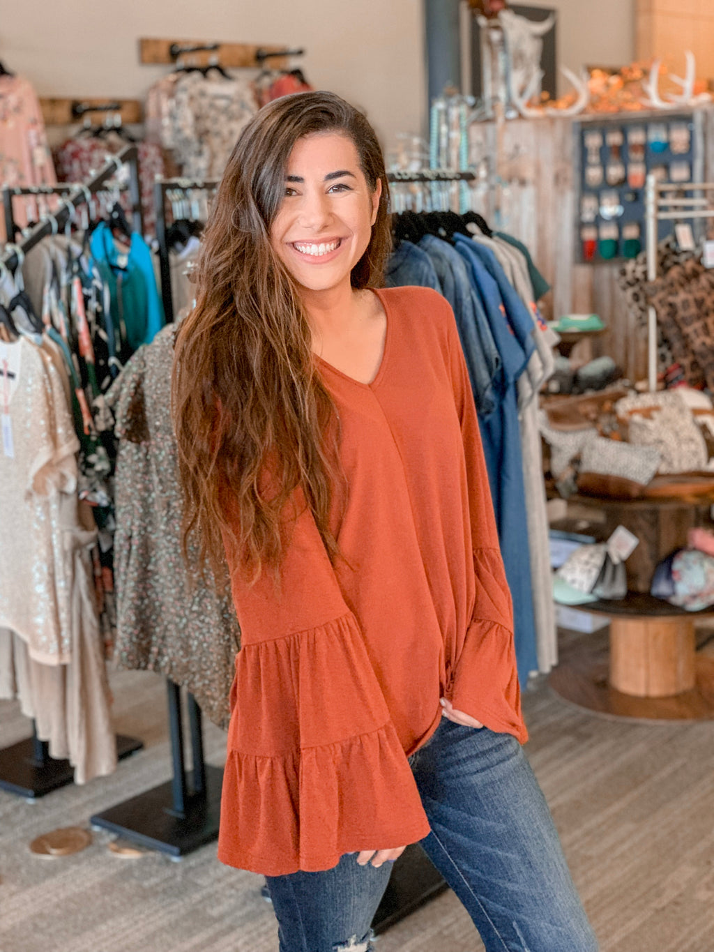 Bell Sleeve Top-Rust