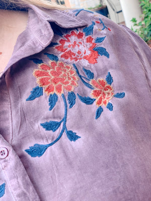 Wash Dye Embroidered Top-Marsala