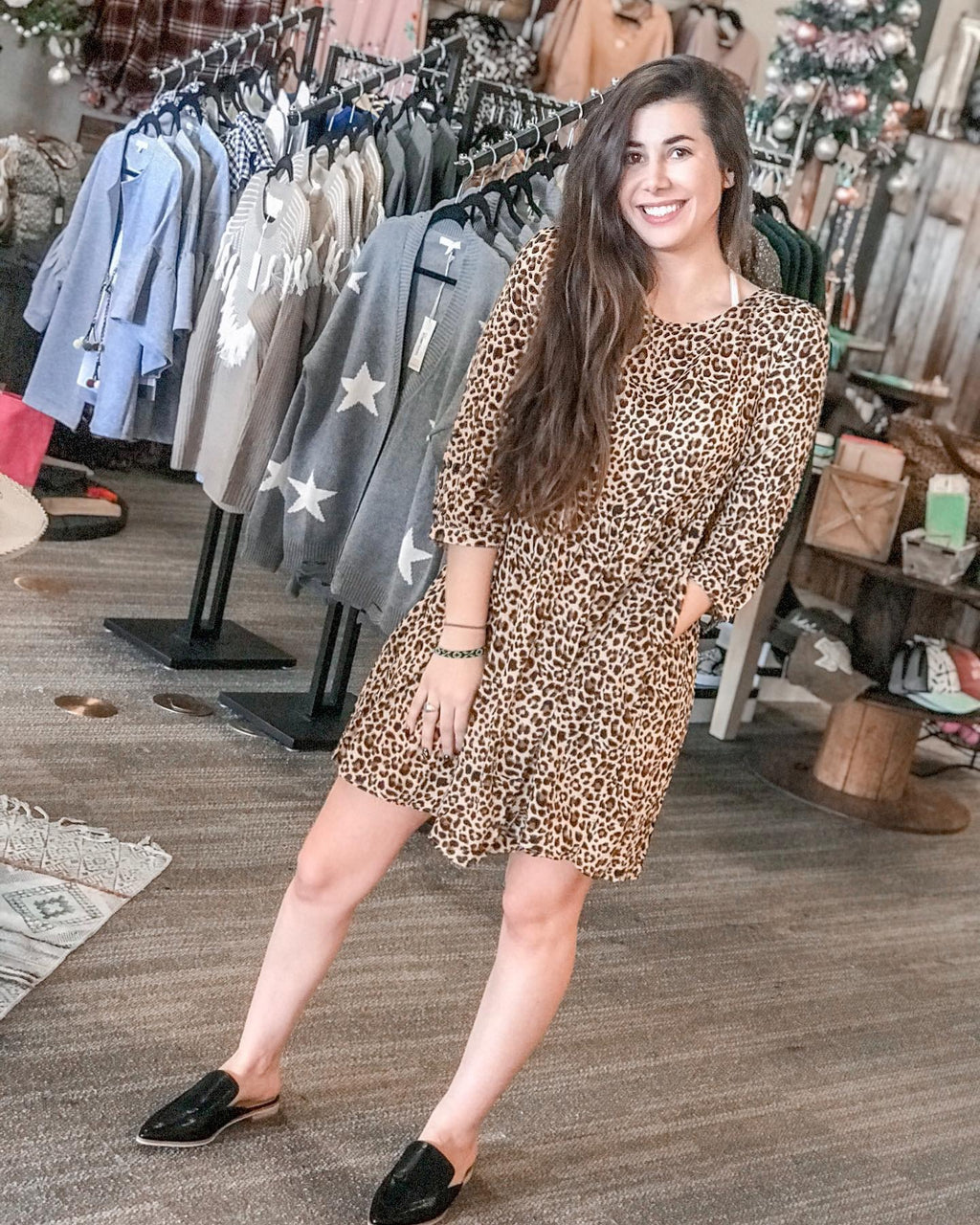 Leopard Babydoll Shift Dress