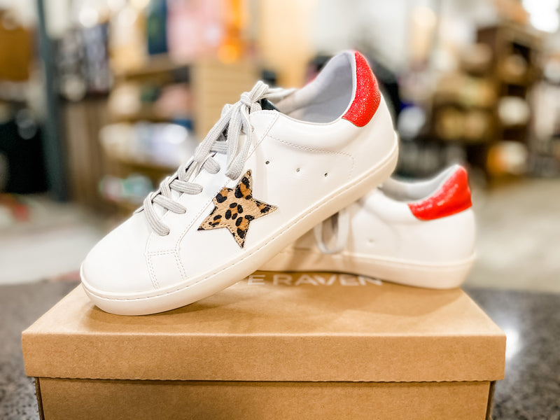 Star Sneakers-Leopard & Red