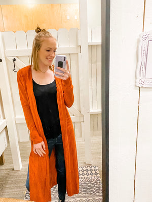 Long Sleeve Knitted Long Cardigan