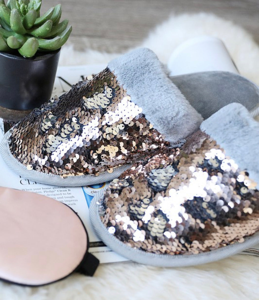 Sequin Faux Fur Slipper