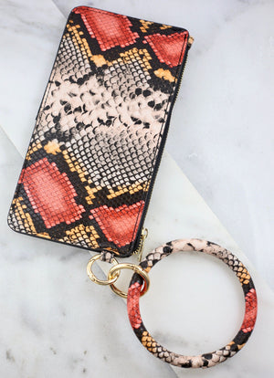 Bradshaw Snake Print Wallet And Keychain