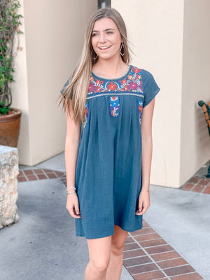 Embroidered Top Dress-Sea Green