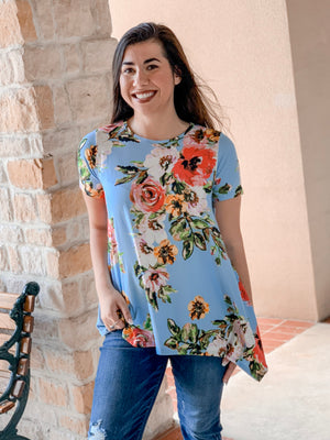 Floral Top-Light Blue
