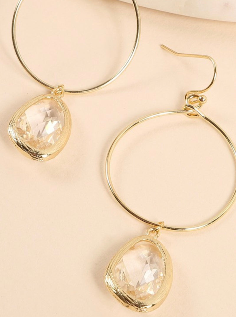 Natural Stone Tear Drop Hoops-Clear