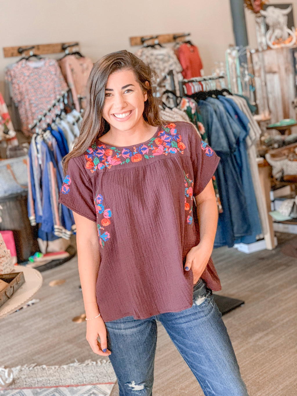 Embroidered Short Sleeve Top-Plum