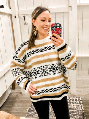 Oversized Aztec Knitted Sweater