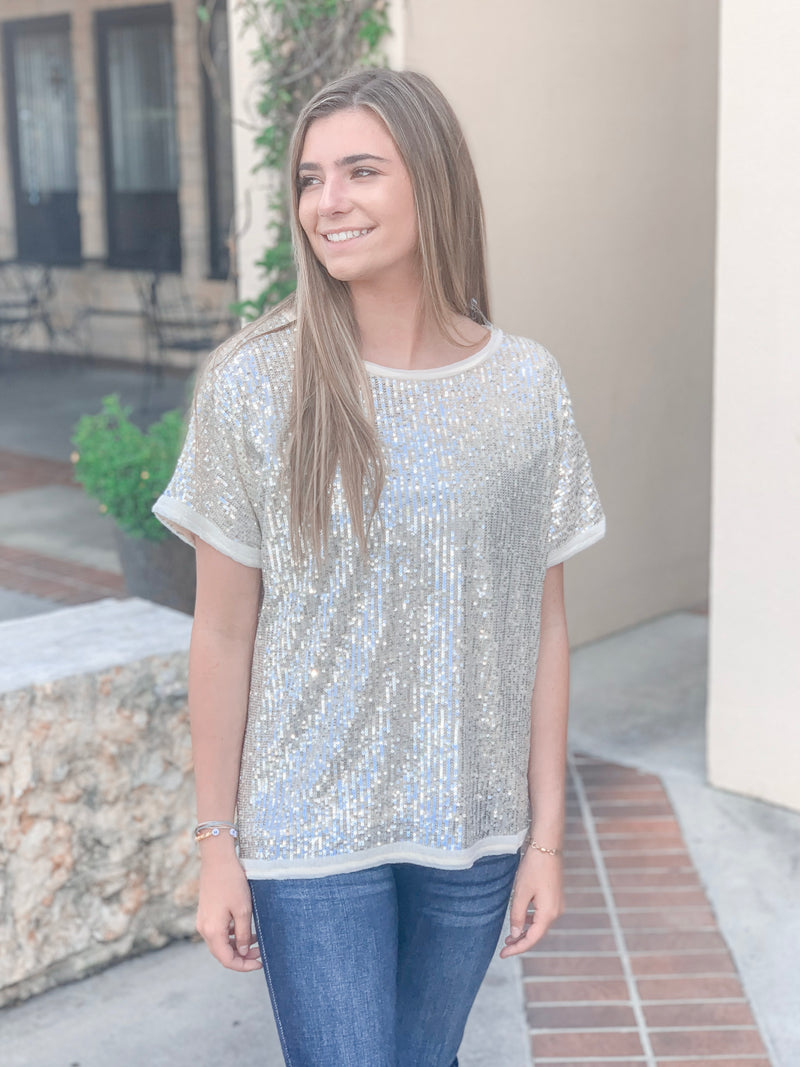 Solid Sequin Top-Champagne