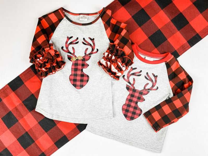 Buffalo Plaid Deer Raglan