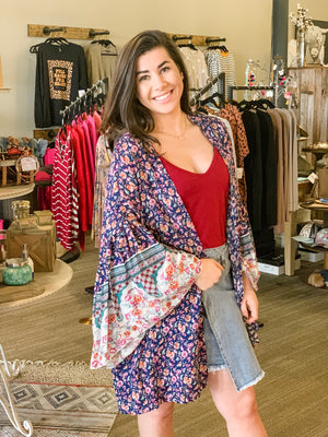 Floral High Low Wide Sleeve Kimono-Navy