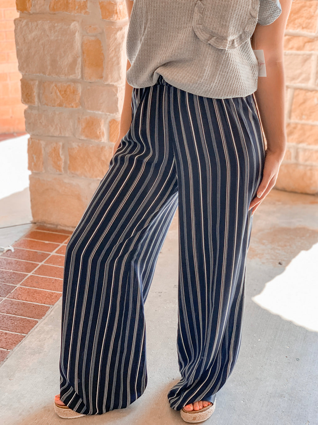 Striped High Rise Pants - Navy