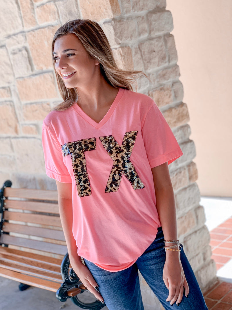 Leopard Sequin TX T-Shirt