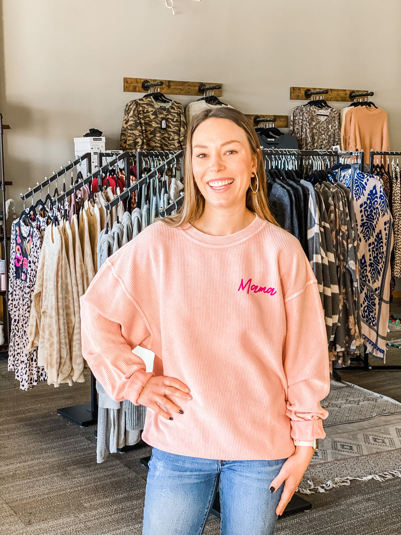 Mama Pale Pink Corded Pullover