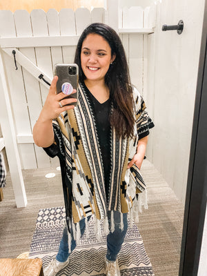 Aztec Patterned Cardigan with Tassels