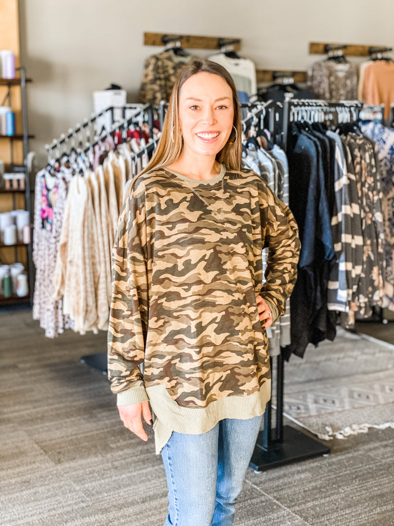 Camouflage French Terry and Rib Mixed Sweatshirt