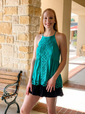 Solid Halter Top with Lace Crochet Front & Scallop Hem-Jade
