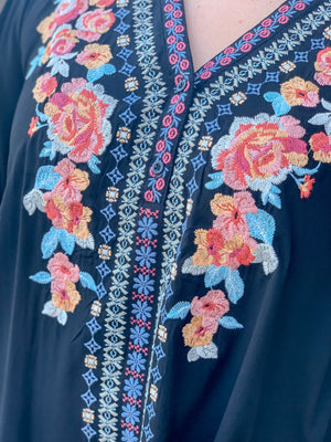Embroidered Tunic-Multi Flowers