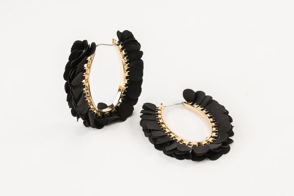 Olivia Oval Hoops-Black