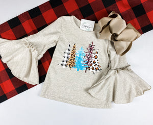 Christmas Trees Bell Sleeve Top