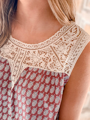 Crochet Lace Printed Top