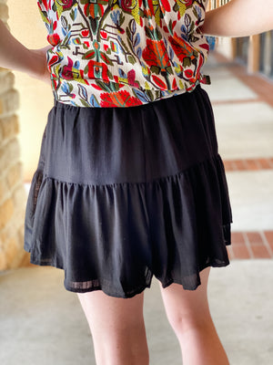 Ruffle Shorts-Black