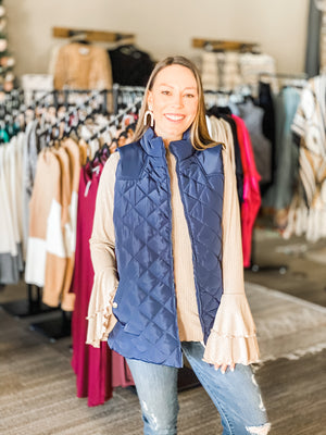 Diamond Quilted Vest-Navy