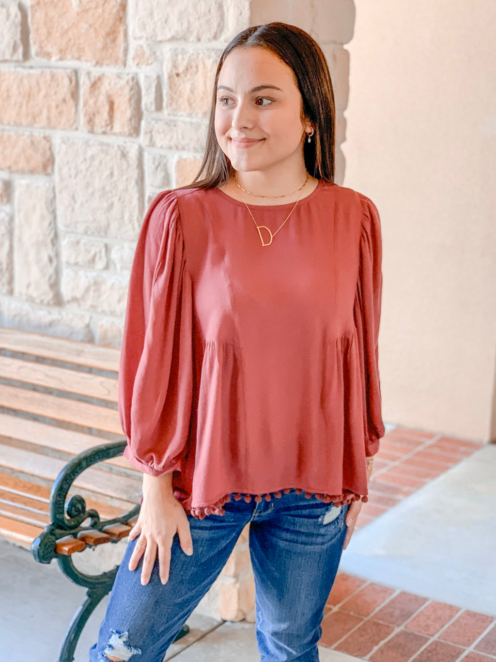 Pom Pom Bottom Top-Deep Rose