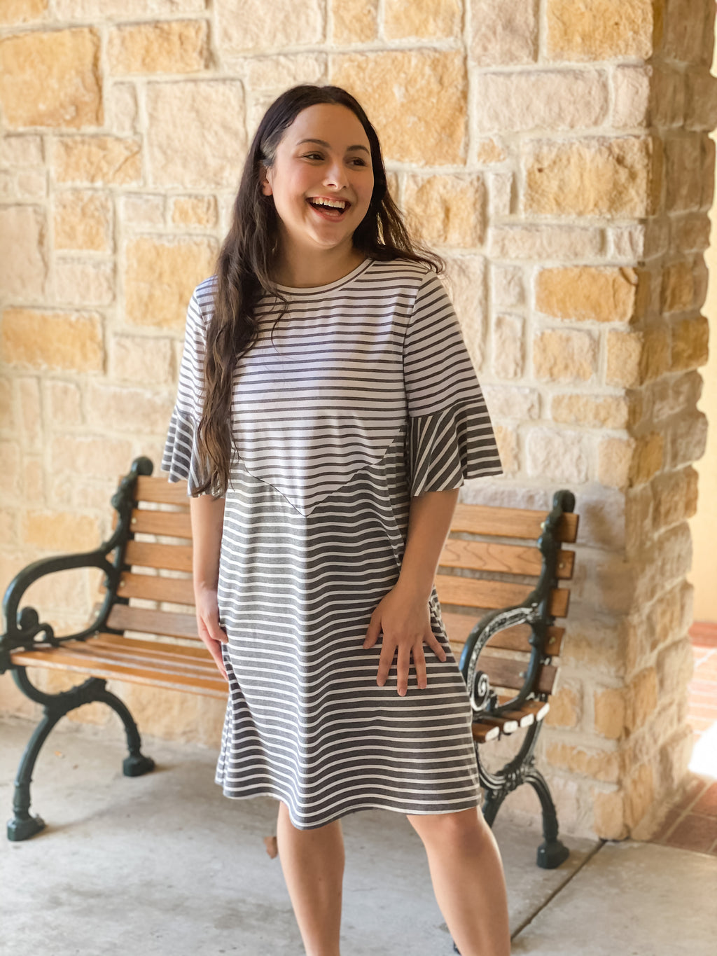 Mixed Strip Knit Dress-Grey & White