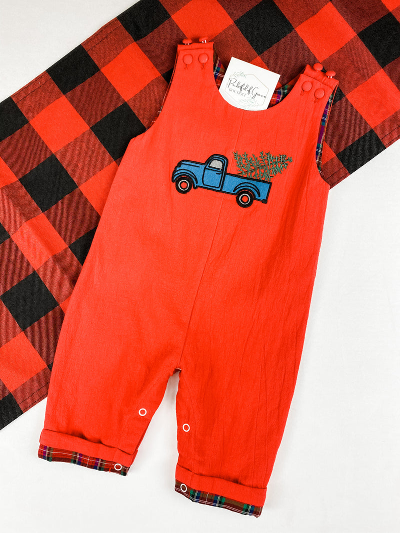 Red Christmas Tree & Truck Smocked Overalls