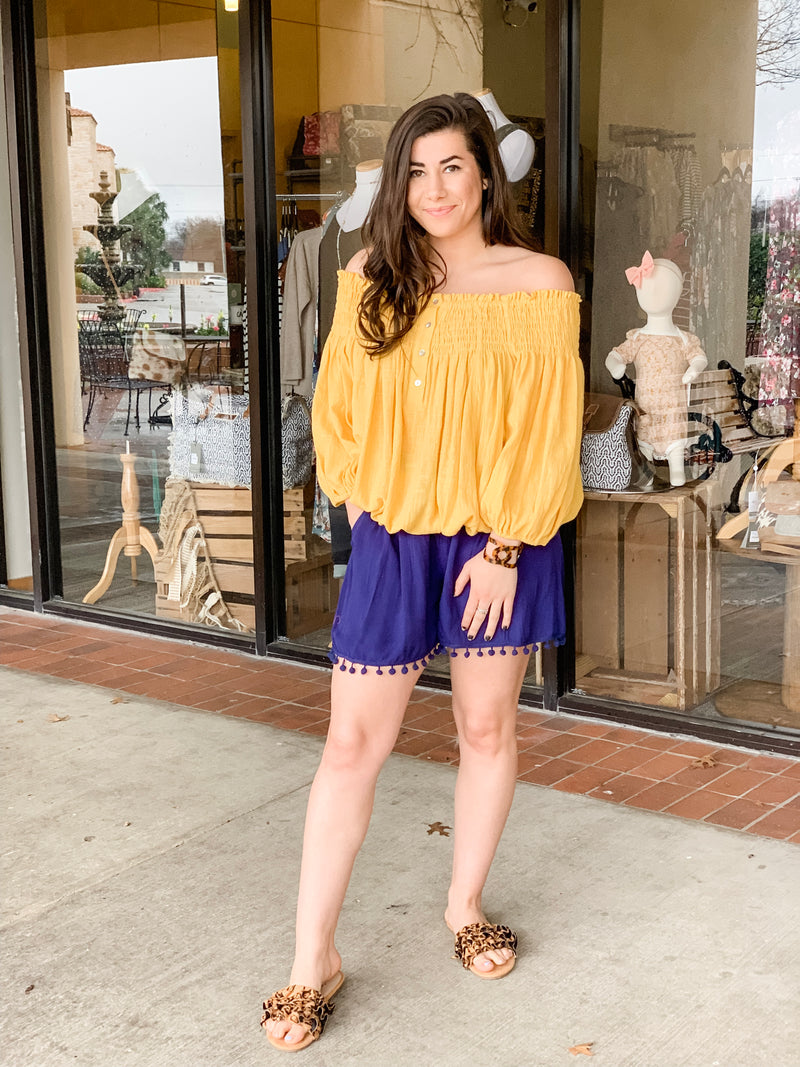 Off Shoulder Button Down Smocked Top-Mango