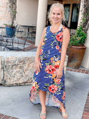 Floral High Low Maxi-Navy