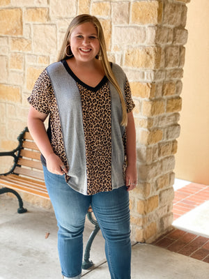 Leopard and Grey Waffle Top