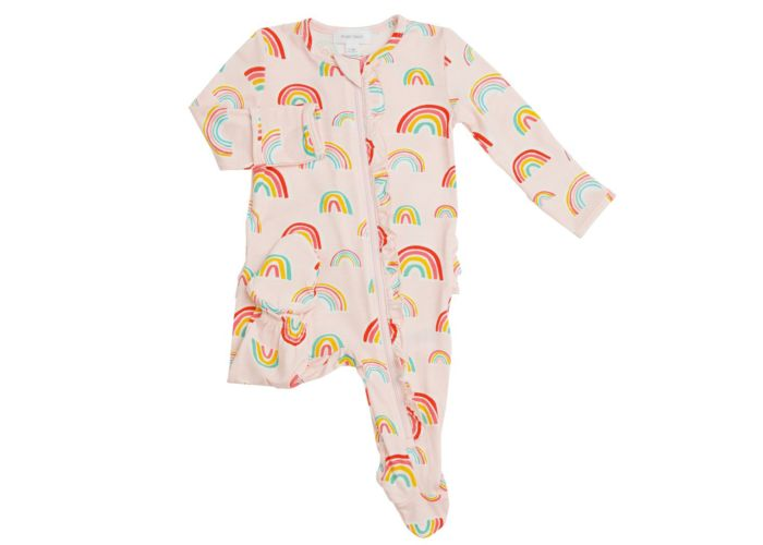Rainbows Ruffle Front Zipper Footie