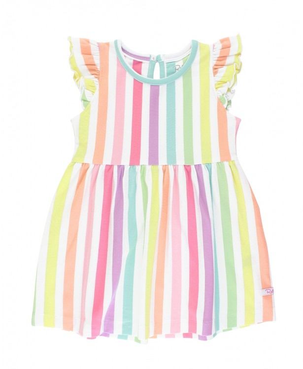 Rainbow Stripe Flutter Dress