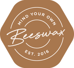 mind your own beeswax food wrap logo hexagon with text