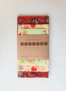 reusable beeswax wrap starter pack 1 large 1 medium 1 small wrap red pink mint gold valentines day