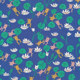 medium beeswax wrap 30cm sandwich blue with green frogs