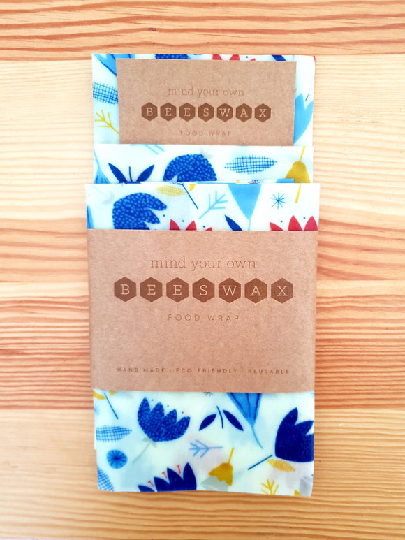 reusable beeswax wrap for food lunchbox pack 3 medium wraps dancing tulips light blue flowers on white