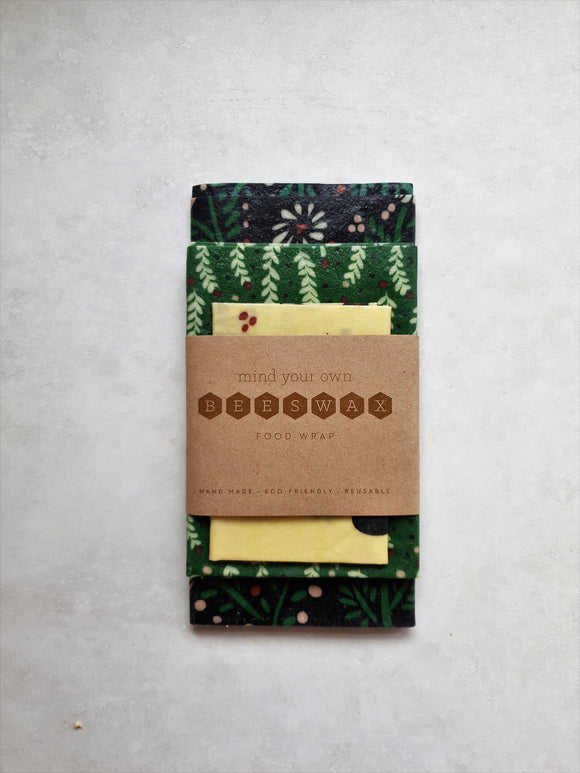 beeswax wrap starter pack 3 black white green