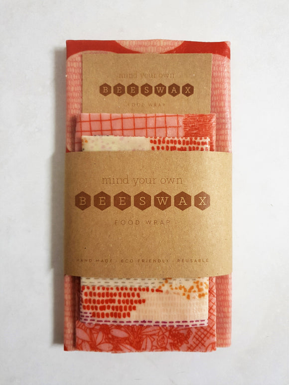 reusable beeswax wrap for food starter pack 3 wraps large medium small pink orange