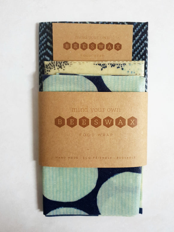 reusable beeswax wrap for food lunchbox pack 3 medium wraps deep blue