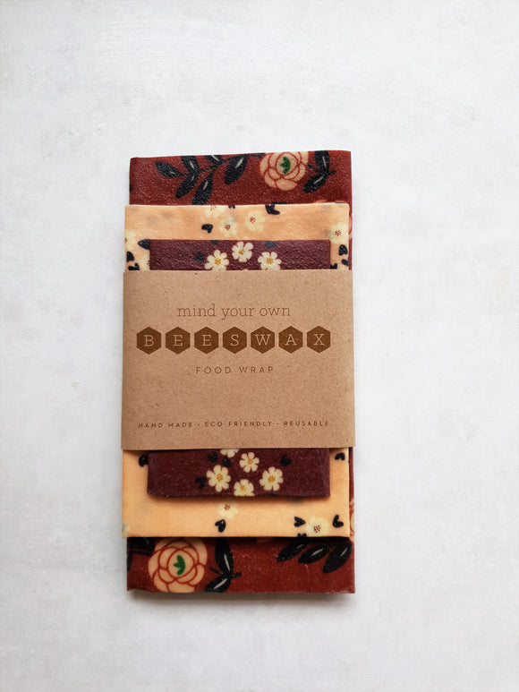 beeswax wrap starter pack 3 pink brown floral