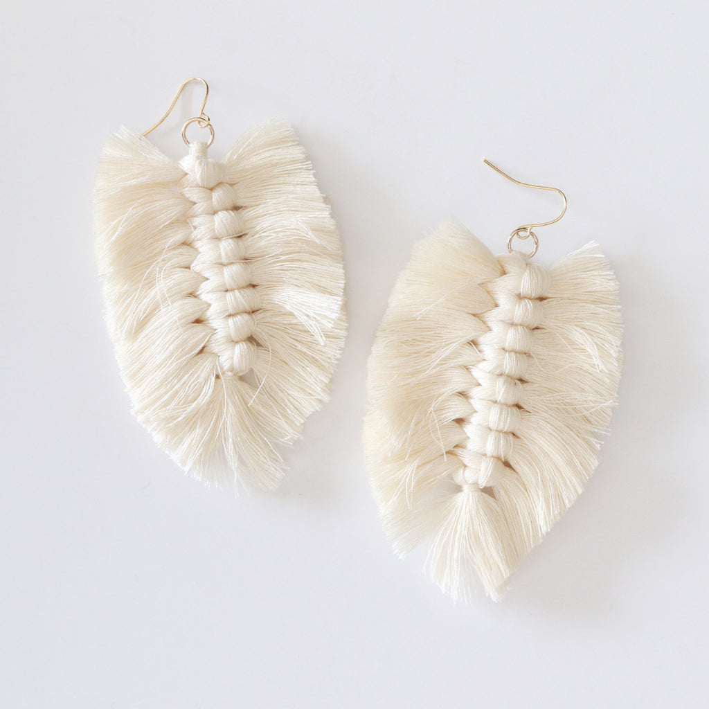 Macrame Feather Earrings - White