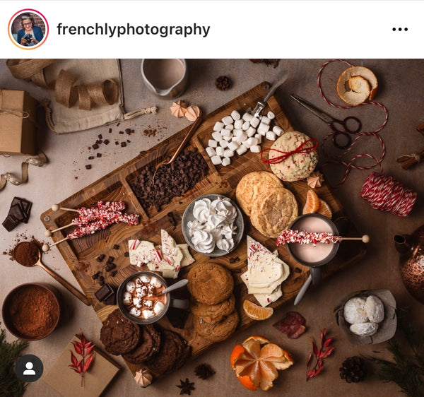 Make your own hot cocoa board filled with cookies, marshmallows, chocolate chips, rock candy, and more.