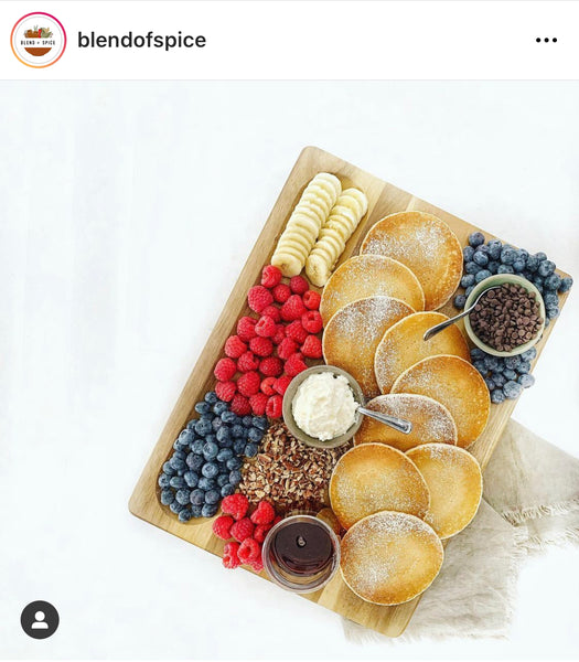 Make your own pancake board displayed on Sonder LA's Winsome Acacia board.