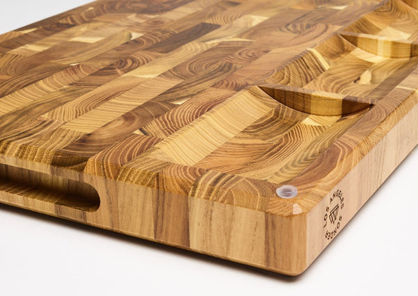 Artisan End Grain Teak Wood Cutting Board by Sonder Los Angeles, reversible, multipurpose, multifunctional, with built-in sorting compartments, juice groove, rubber feet for stability, inner handles