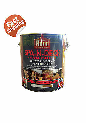 FLOOD SPA N DECK 2 LITRES WOOD DECKING OIL PAINT FENCES WEATHERBOARDS CEDAR PINE