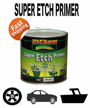 SUPER ETCH PRIMER GREY 4L EPOXY METAL NEW MILD STEEL HICHEM SPRAY PAINT